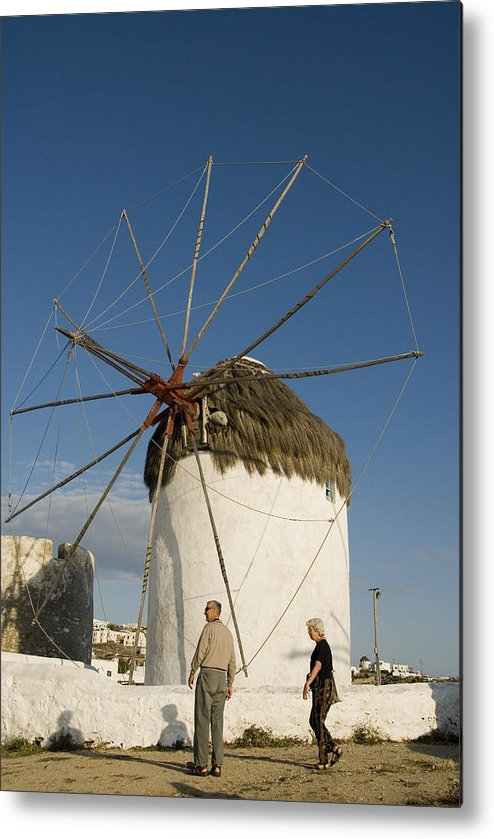 Mykonos Metal Print featuring the photograph Mykonos Icon Windmill by Charles Ridgway