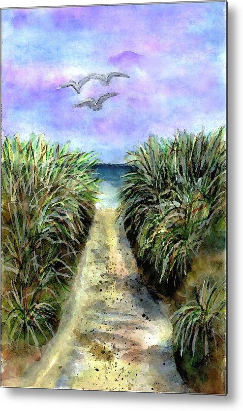 Beach Metal Print featuring the painting Pathway To The Shore by Dina Sierra