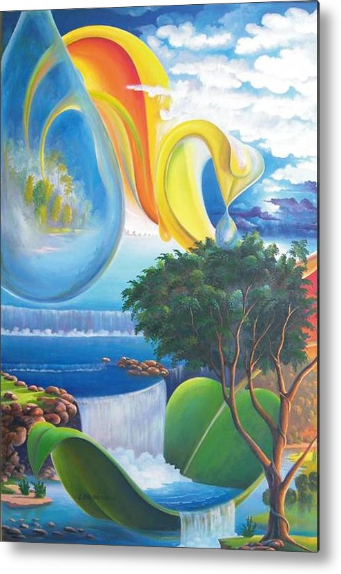 Surrealism - Landscape Metal Print featuring the painting Planet Water - Leomariano by Leomariano artist BRASIL