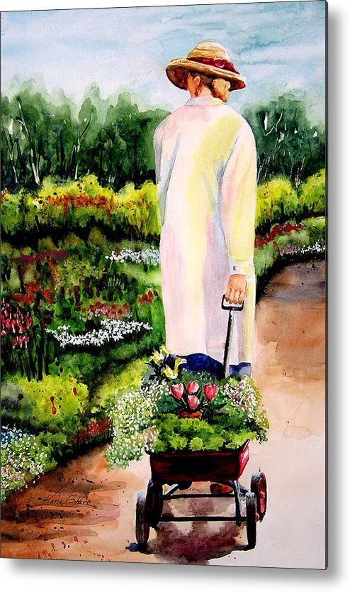 Garden Metal Print featuring the painting Planting Plans by Karen Stark