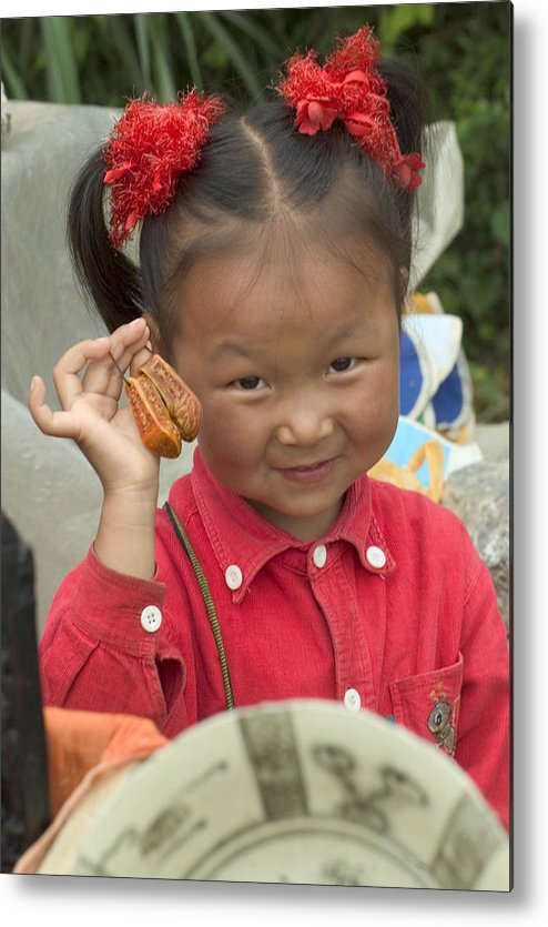 Chinese Girl Metal Print featuring the photograph Please Buy My Shoes by Charles Ridgway