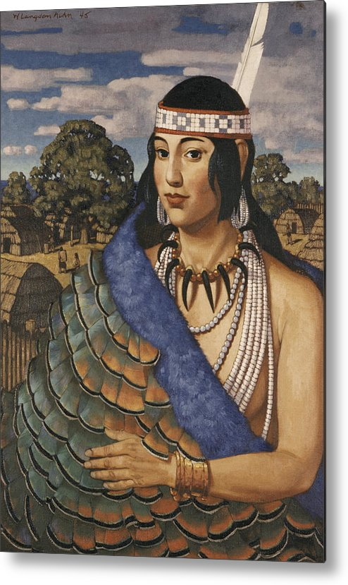 Illustration Metal Print featuring the photograph Pocahontas Wears A Turkey-feather Robe by W. Langdon Kihn