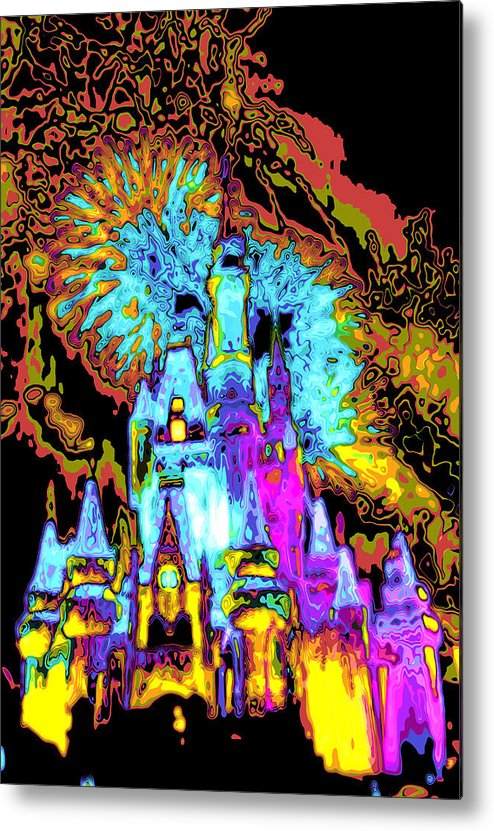 Cincerella Caste. Metal Print featuring the digital art Popart Castle by Charles Ridgway