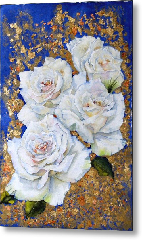 Rose Metal Print featuring the painting Roses With Gold Leaf by Diane Ziemski