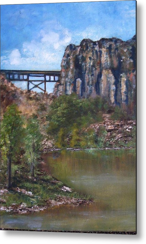 Landscape Metal Print featuring the painting S.o.b Caynon by Darla Joy Johnson