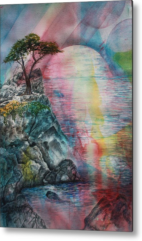 Spiritual Landscape Representing Two Souls Connected Metal Print featuring the painting Soulmates by Patsy Sharpe