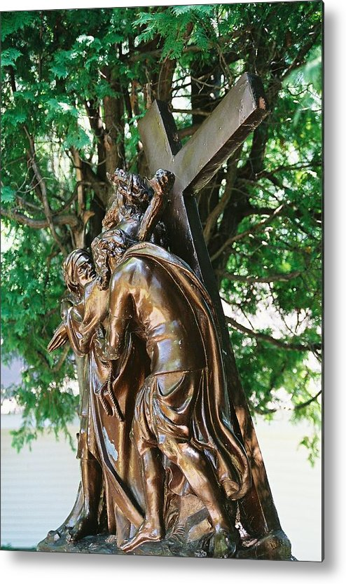 Religious Statue Metal Print featuring the photograph Station Of The Cross by Cheryl Martin
