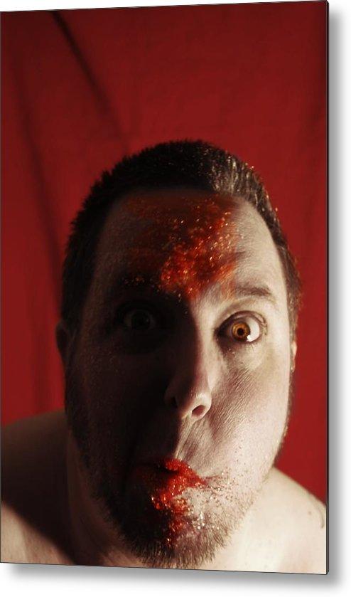 Haloween Candy Sugar Colored Sugar Fun Silly Red Orange Gold Eye Eyes Metal Print featuring the photograph Sugar Sugar by Sean-Michael Gettys