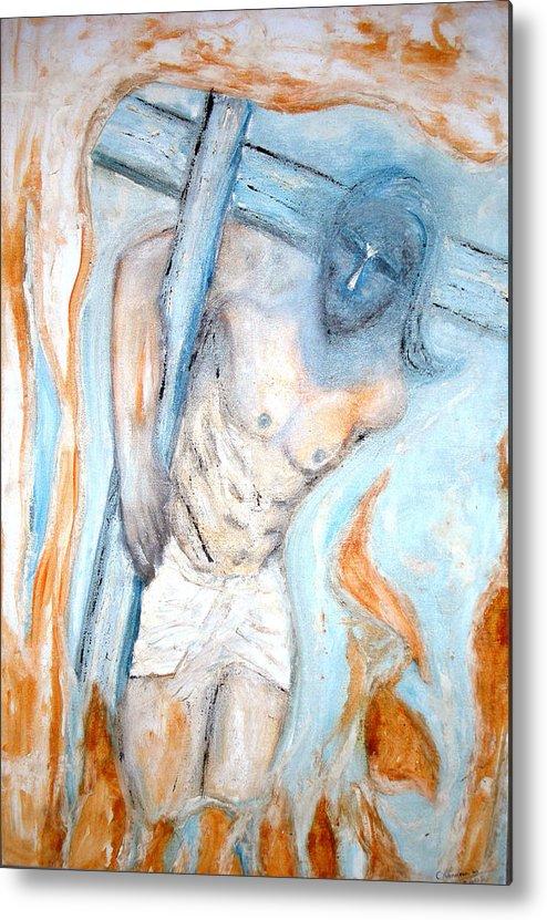 Cross Metal Print featuring the painting The Cross by Narayanan Ramachandran