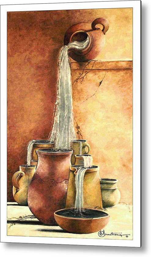 Pottery Metal Print featuring the painting The Living Water by Denise Armstrong