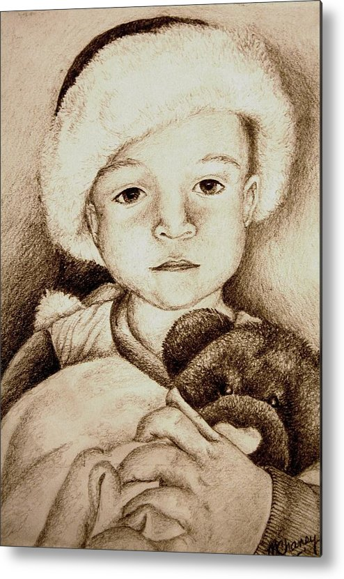 Santa Metal Print featuring the drawing Waiting For Santa by Melissa Wiater Chaney