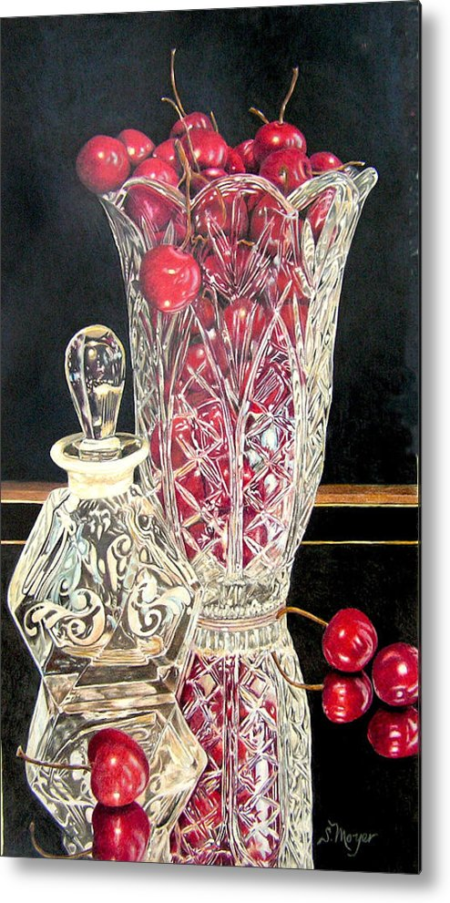 Fruit Metal Print featuring the drawing Cherries Jubilee by Susan Moyer