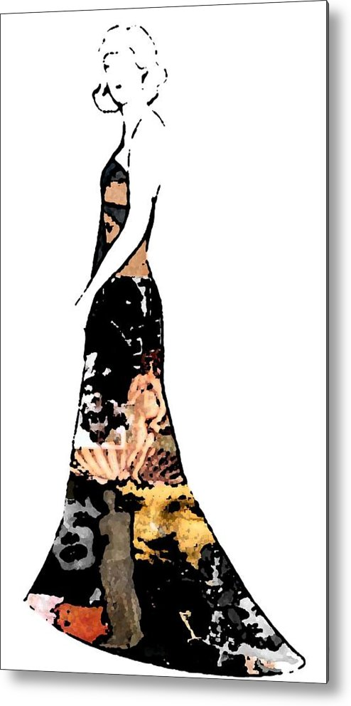 Fashion Sketch Metal Print featuring the drawing Haute Couture Beauty by Jennifer Ott