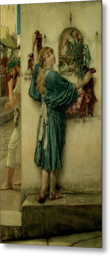 The Metal Print featuring the painting The Street Altar by Sir Lawrence Alma-Tadema