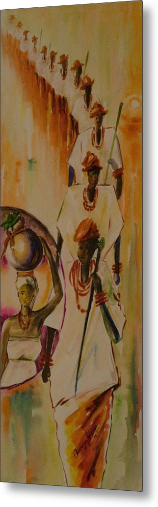 Metal Print featuring the painting Procession by Alfred Awonuga