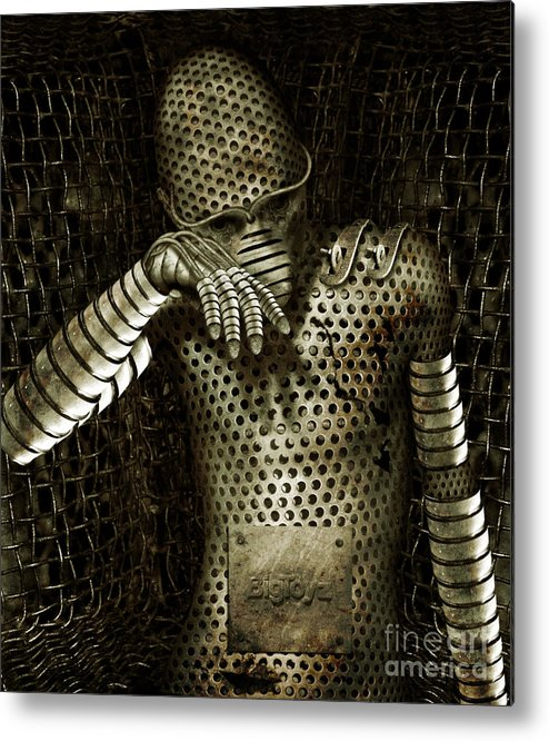 Robot Metal Print featuring the digital art Mr. K by Alexei Solha