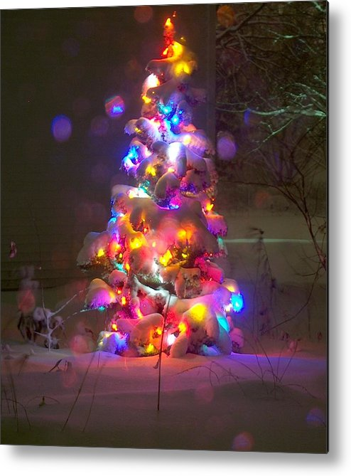 Christmas Tree Metal Print featuring the greeting card The Warm Glow Of Christmas by Denise  Hoff