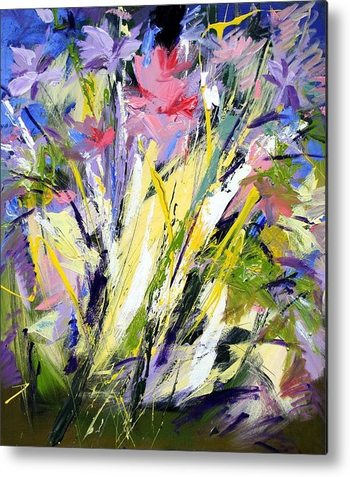 Abstract Flowers Metal Print featuring the painting Abstract Flowers by Mario Zampedroni