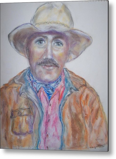 Portrait Of A Cowboy Metal Print featuring the drawing Cowboy Jim by Suzanne Reynolds