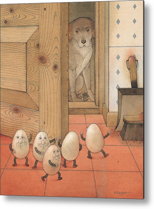 Kitchen Red Brown Dog Eggs Metal Print featuring the painting Eggs And Dog by Kestutis Kasparavicius