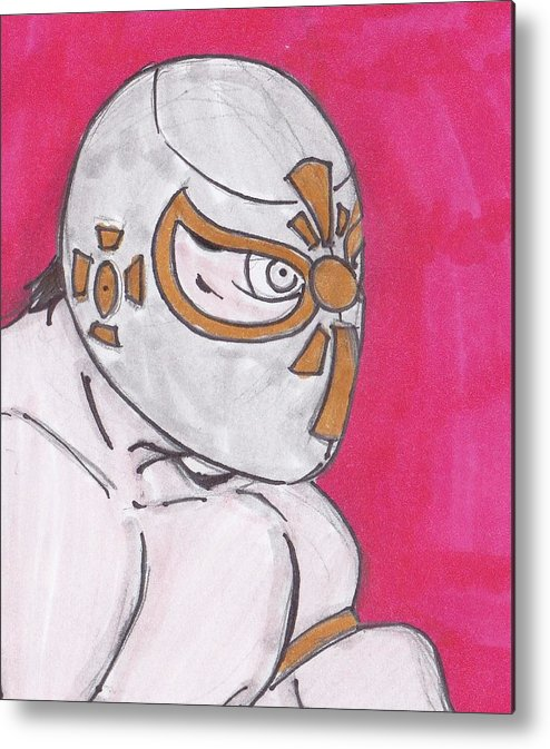Lucha Libre Metal Print featuring the drawing El Mistico by Jose Garcia