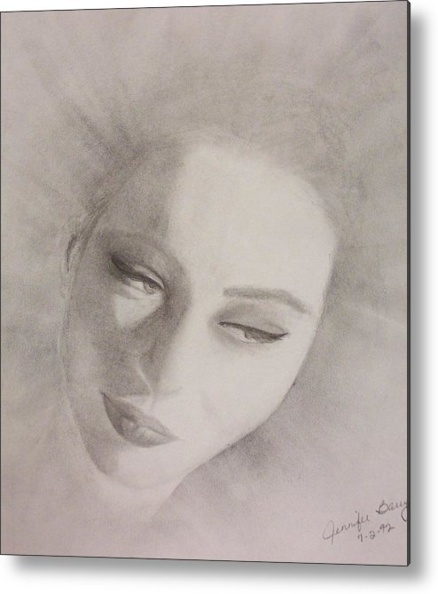 Portrait Metal Print featuring the drawing Face by Jennifer Hernandez