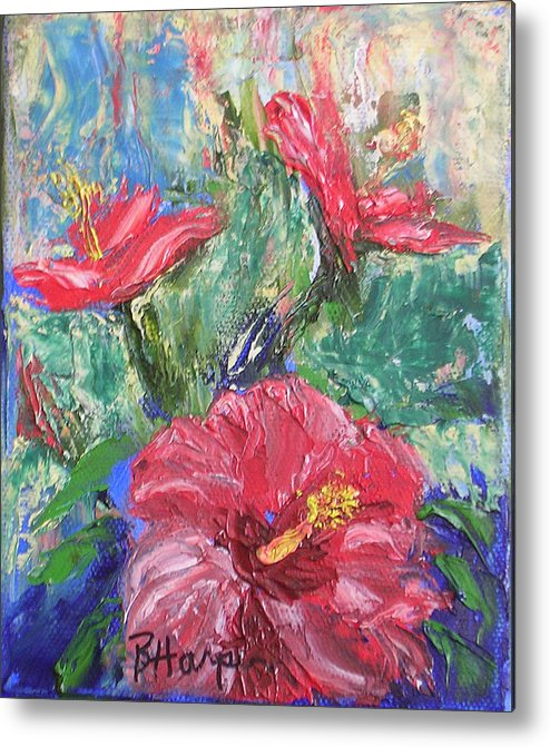 Hibiscus Metal Print featuring the painting Hibiscus Abstract by Barbara Harper
