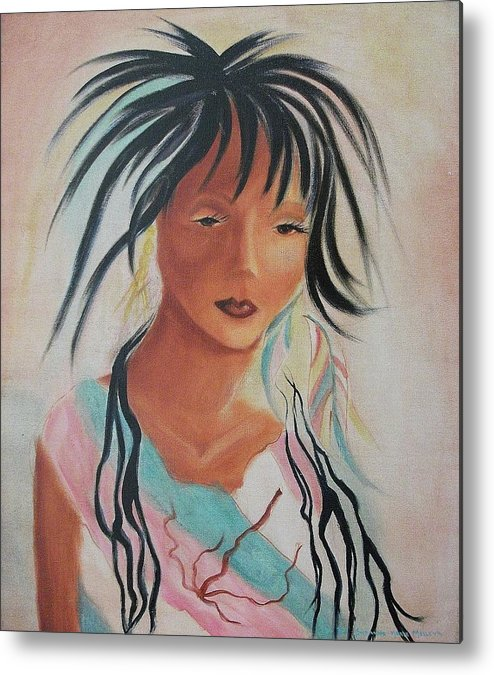 Indian Metal Print featuring the painting Indian Girl by Suzanne Marie Leclair