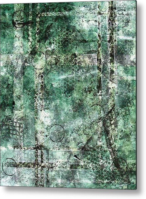 Abstract Metal Print featuring the painting Lines Of Communication by Sophia Elise