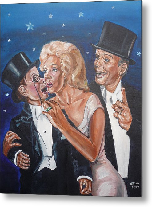 Old Time Radio Metal Print featuring the painting Marilyn Monroe Marries Charlie Mccarthy by Bryan Bustard