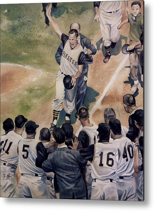 Baseball Metal Print featuring the painting Maz by Rich Marks