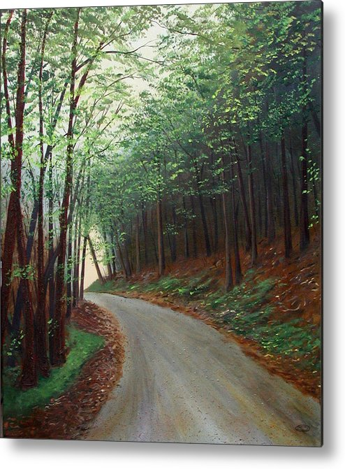 Original Acrylic On Stretched Canvas Landscape Path Forest Trees Metal Print featuring the painting Out Of Darkness by Sharon Steinhaus