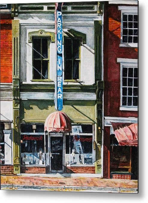 Street Scene Metal Print featuring the painting Restaurant by Thomas Akers