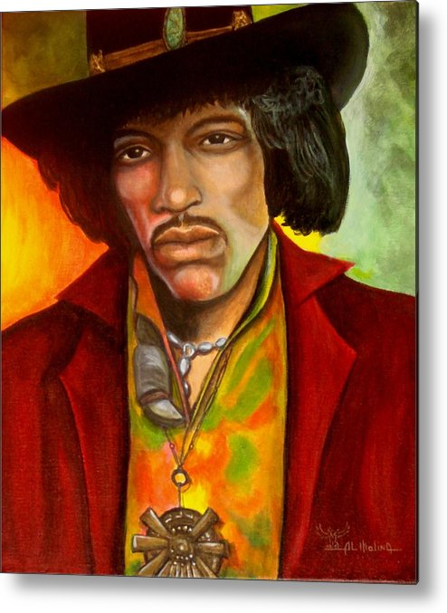 Jimi Hendrix Metal Print featuring the painting Simply Jimi by Al Molina