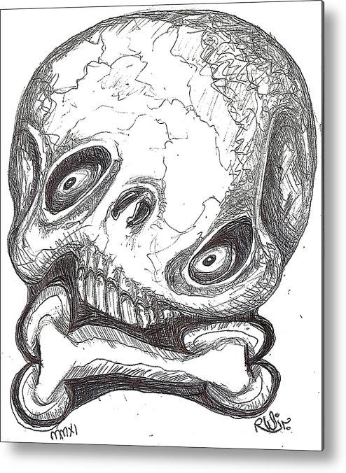 Rwjr Metal Print featuring the digital art Skullnbone Twisted by Robert Wolverton Jr