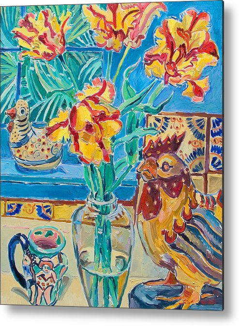 Still-life Metal Print featuring the painting Still Life With Rooster And Tulips by Vitali Komarov