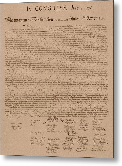 Declaration Of Independence Metal Print featuring the mixed media The Declaration Of Independence by War Is Hell Store