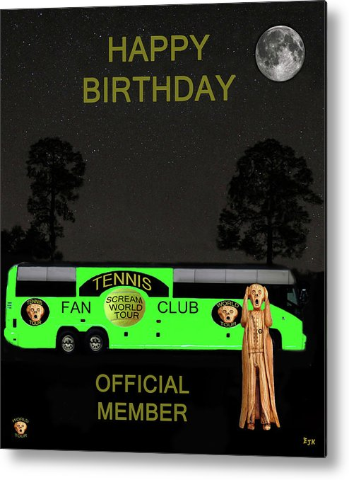 Scream World Tour Metal Print featuring the mixed media The Scream World Tour Tennis Tour Bus Happy Birthday by Eric Kempson