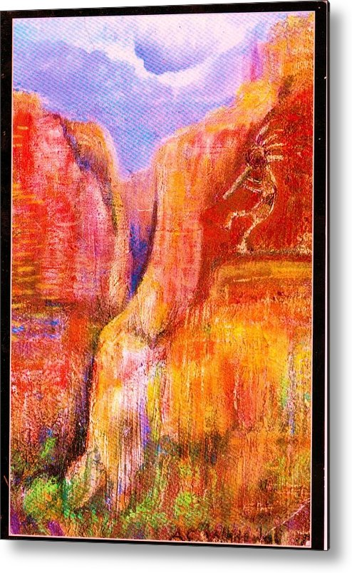 Kokoopelli Metal Print featuring the painting Another View Of Kokopelli by Anne-Elizabeth Whiteway