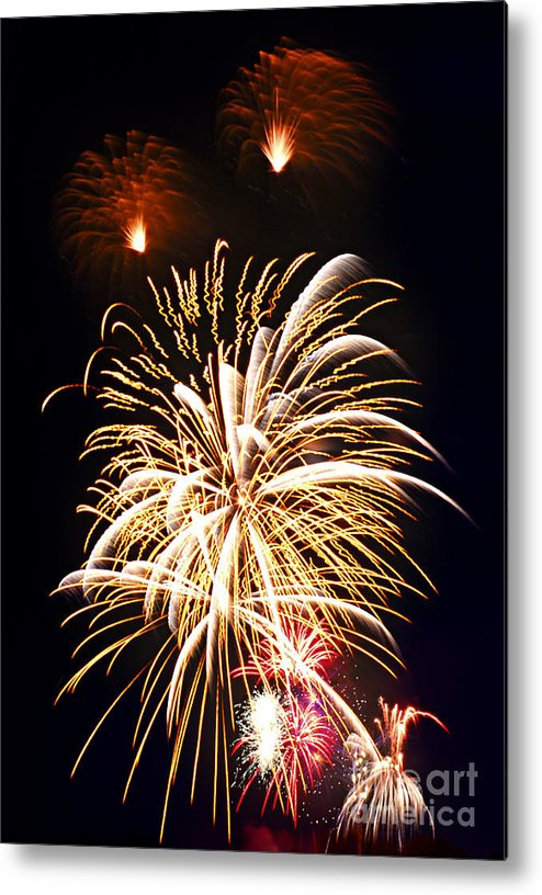 Firework Metal Print featuring the photograph Fireworks by Elena Elisseeva