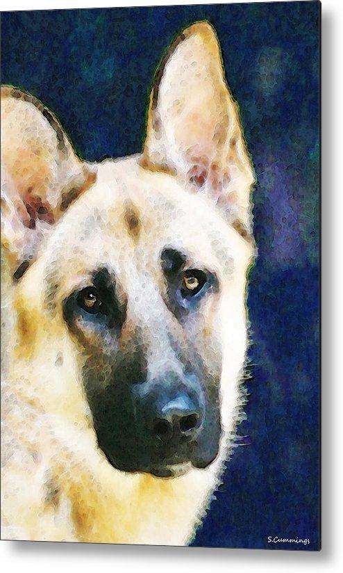 German Shepherd Metal Print featuring the painting German Shepherd - Soul by Sharon Cummings