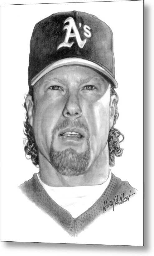 Mark Mcgwire Metal Print featuring the drawing Mark Mcgwire by Harry West