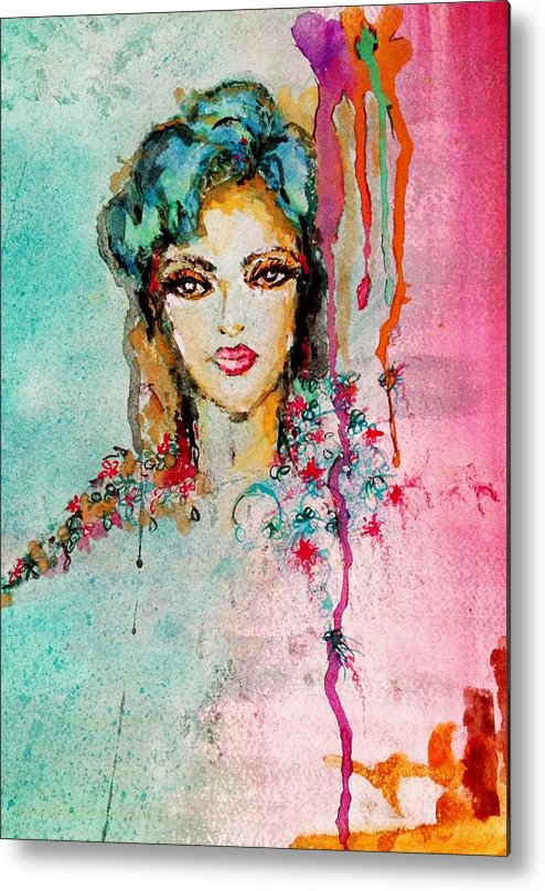 Woman Metal Print featuring the painting Abstract by Genesis Garcia