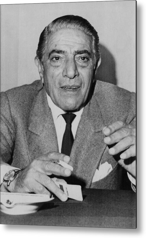 1970s Metal Print featuring the photograph Aristotle Onassis, Circa Early 1970s by Everett