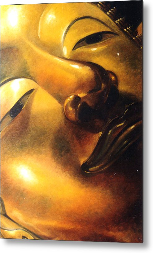 Oil Metal Print featuring the painting Virtue by Chonkhet Phanwichien