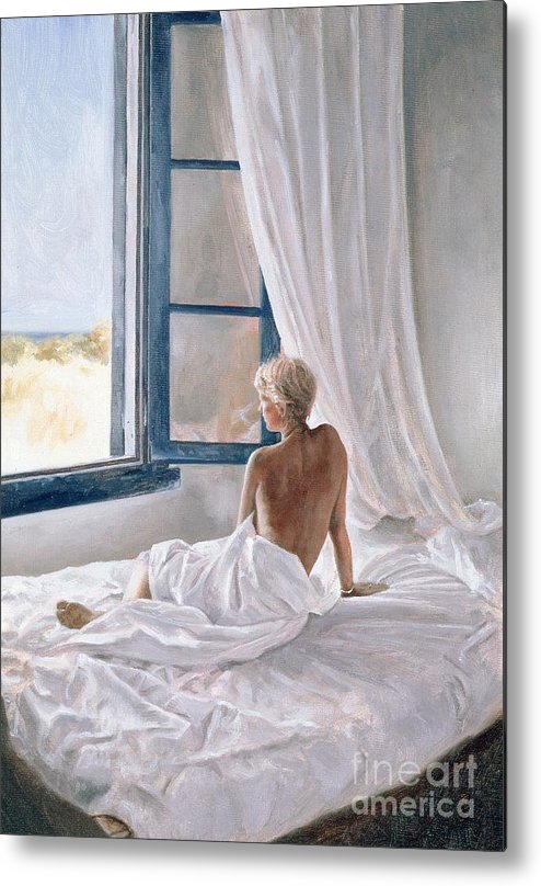Bed; Sheets; Bedsheets; Window; Female; Nude; Bedroom; Nude Metal Print featuring the painting Afternoon View by John Worthington