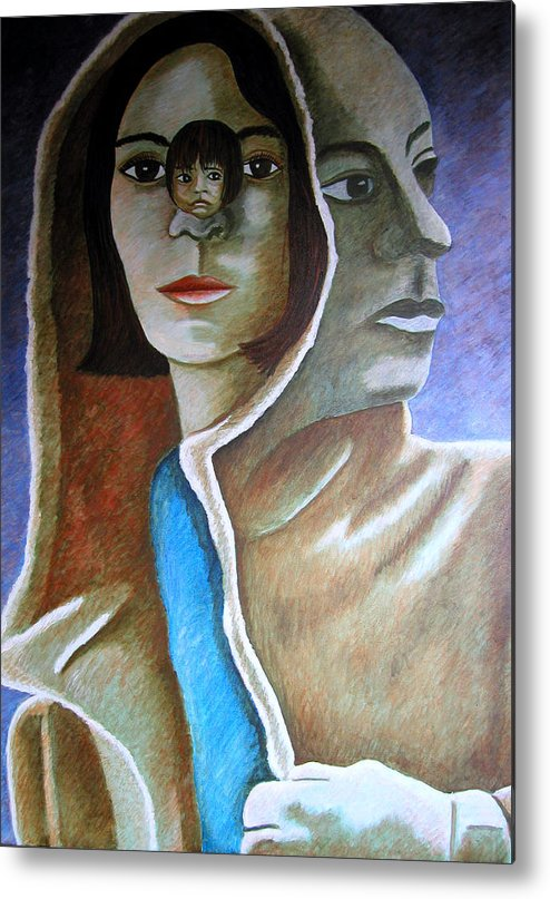 Identity (symbolic Art) Metal Print featuring the painting Am I The Child I Used To Be Or The Woman I Am Now by Tanni Koens