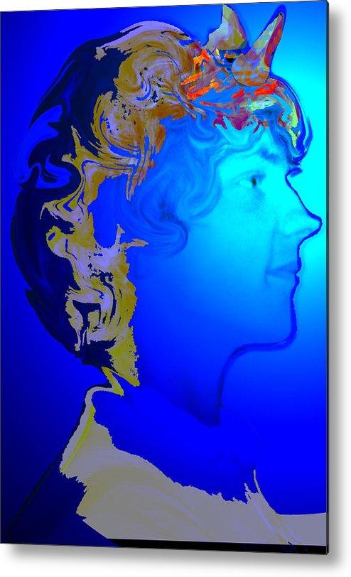 Angel Metal Print featuring the digital art Angel Dreams Of Earth by Helene Champaloux-Saraswati
