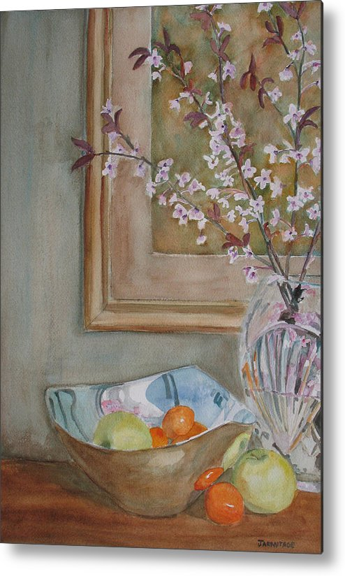Apples Metal Print featuring the painting Apples And Oranges by Jenny Armitage