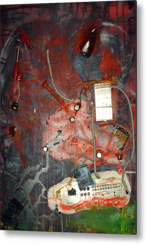 Collage Metal Print featuring the painting Brain Surgery by Leigh Odom